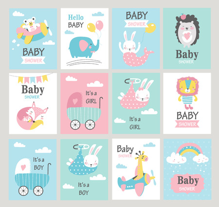Set of baby shower cards with cute animals. Vector illustrations
