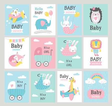 Zestaw kart baby shower z uroczymi zwierzętami. Ilustracje wektorowe