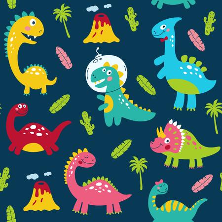 Modello senza cuciture con simpatici dinosauri per bambini stampa. Illustrazione vettoriale