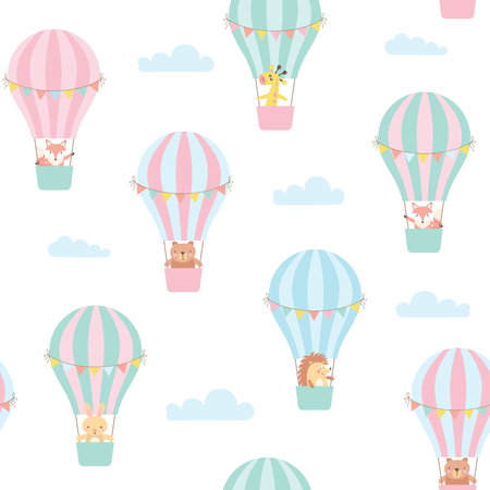 Seamless pattern with cute animals in a hot air balloon. Vector illustration Stock Photo