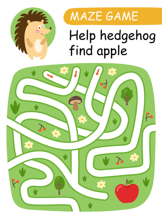 Help hedgehog find apple. Maze game for kids. Vector illustration