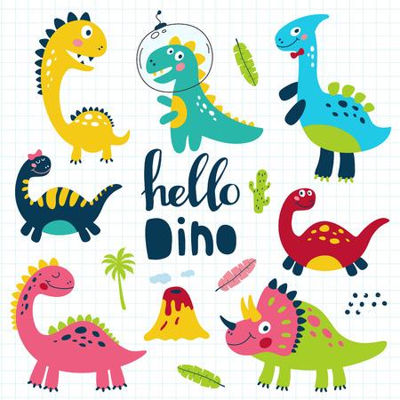 Set of cute dinosaurs for children print. Vector illustration