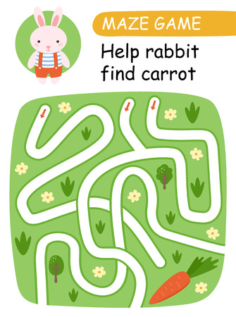 Help  bunny find carrot. Maze game for kids. Vector illustration 