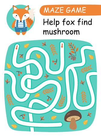 Help fox find mushroom. Maze game for kids. Vector illustration Archivio Fotografico - 108131282