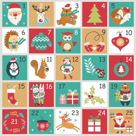 Weihnachts-Adventskalender mit handgezeichneten Elementen. Weihnachtsplakat. Vektorillustration