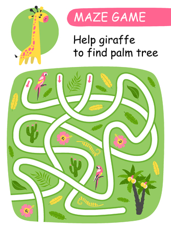 Help giraffe to find palm tree. Vector illustration