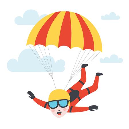Fallschirmspringer, der mit einem Fallschirm in den Himmel springt. Vektorillustration Vektorgrafik