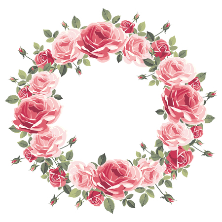 Wreath of vintage pink roses on a white background. Vector illustration
