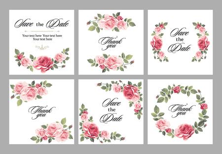 Stellen Sie Einladungsweinlesekarte mit Rosen und antiken dekorativen Elementen ein. Vektorillustration