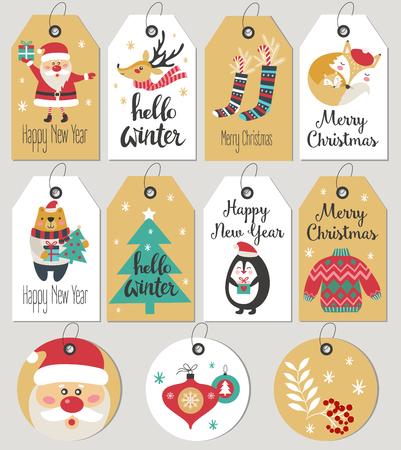 Set di cartoline e tag regalo di buon Natale e Capodanno. Illustrazione vettoriale
