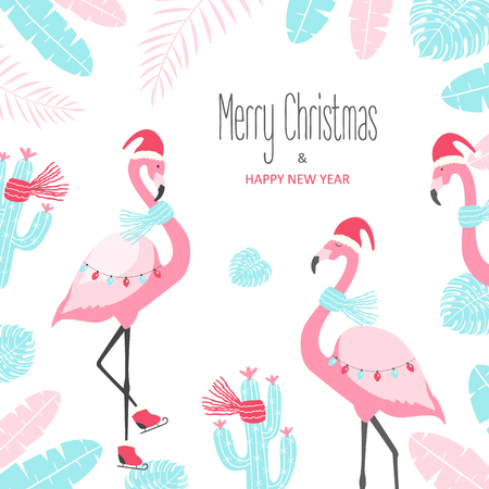 Christmas card with cute flamingo on a white background. Vector illustration Ilustração