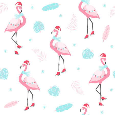 Christmas pattern with cute flamingo on skates. Vector illustration Ilustracja