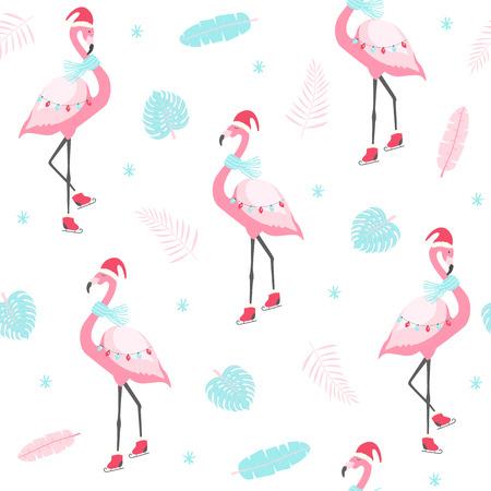 Christmas pattern with cute flamingo on skates. Vector illustration Illustration