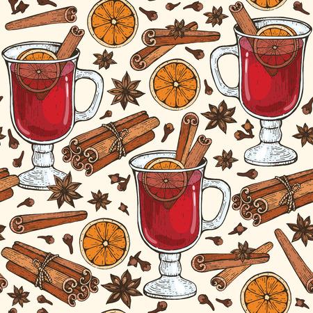 Modello senza cuciture con bicchiere di vin brulè e spezie cannella, chiodi di garofano, badyan, arancia. Illustrazione vettoriale disegnato a mano.