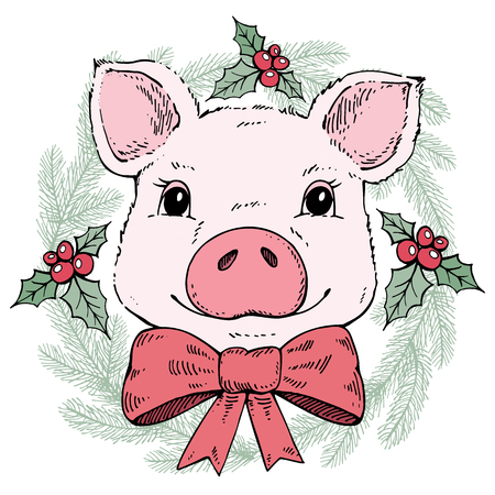 Pig in a Christmas wreath.