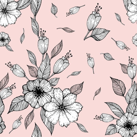 Seamless pattern with flowers and leaves on a pink background. Vector illustration
