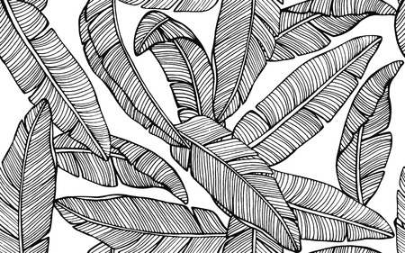 Seamless tropical pattern with banana leaves. Hand drawn vector illustration