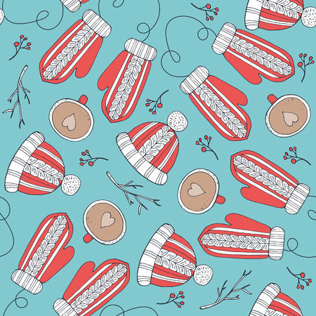 Seamless pattern with red mittens and cup. Hand-drawn vector illustration. Stock Photo