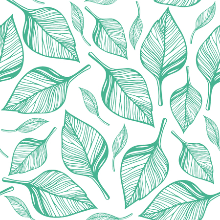Seamless pattern with green leaves. Hand drawn vector illustration
