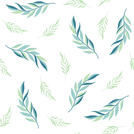 Seamless pattern with green leaves on a white background. Imagens