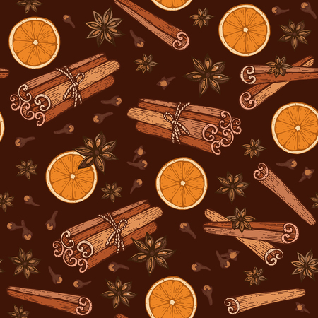 Seamless pattern with spices cinnamon, cloves, badyan, orange Vector illustrations