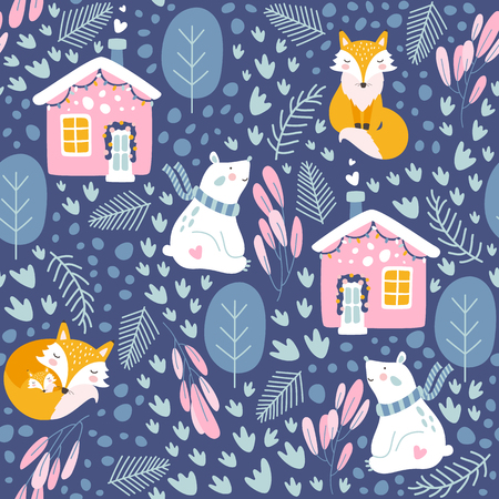 Winter seamless pattern with bear and fox. Vector illustrations