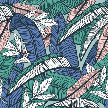 Tropikalny wzór z liści bananowca. Ręcznie rysowane ilustracji wektorowych Ilustracje wektorowe