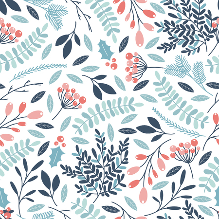 Winter seamless pattern with holly berries, branches and leaves. Vector illustrations Stock Illustratie