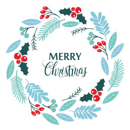 Corona de Navidad, con bayas de acebo, aislado sobre fondo blanco. Ilustración vectorial