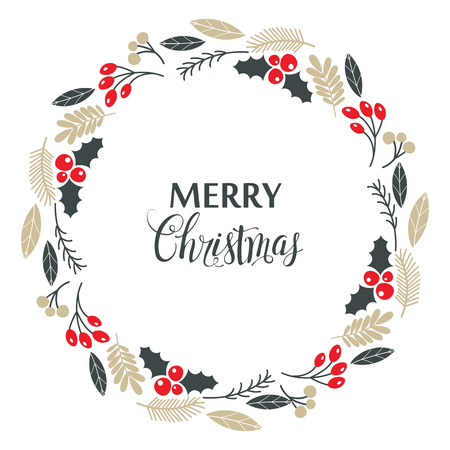 Christmas wreath, with holly berries, isolated on white background. Vector illustration