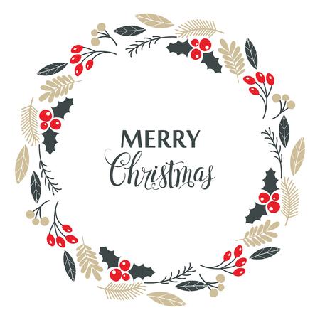 Weihnachtskranz, mit Stechpalmenbeeren, isoliert auf weißem Hintergrund. Vektor-Illustration