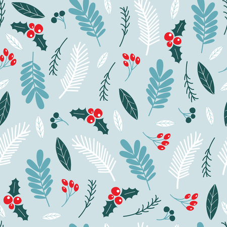 Winter seamless pattern with holly berries. Vector illustrations