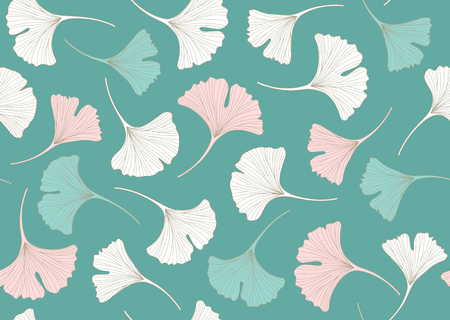 Floral seamless pattern with gingko leaves. Vector illustrations