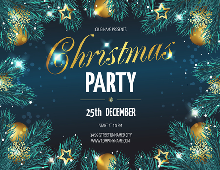 ?hristmas party poster with fir branches. Vector illustration eps 10 Illustration