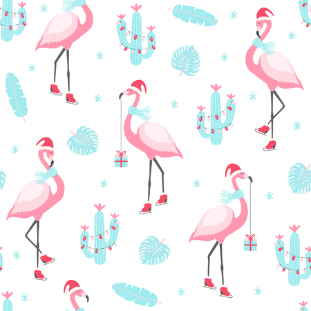 Christmas pattern with cute flamingo on skates. Vector illustration Stock Illustratie
