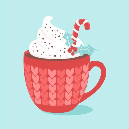 Weihnachten Heiße Schokolade mit Sahne und Zuckerstange. Vektorillustrationen Vektorgrafik