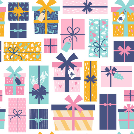Seamless pattern with Christmas present boxes. Vector illustrations Stock Illustratie