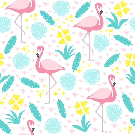 Tropical seamless pattern with flamingo and exotic leaves. Vector illustration