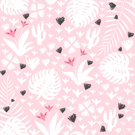 Tropical seamless pattern with leaves, flowers and cactuses. Vector illustration