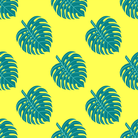 Tropical seamless pattern with leaves on yellow background. Vector illustration