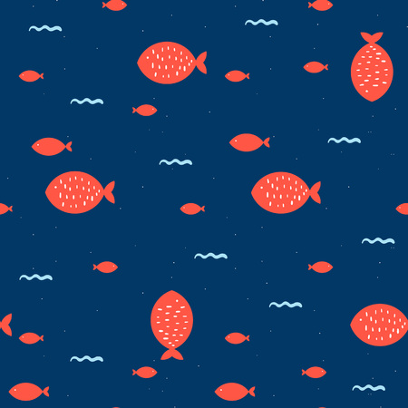 Seamless pattern with fish. Hand drawn vector illustration Illustration
