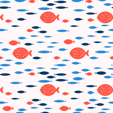 Seamless pattern with fish. Hand drawn vector illustration Иллюстрация