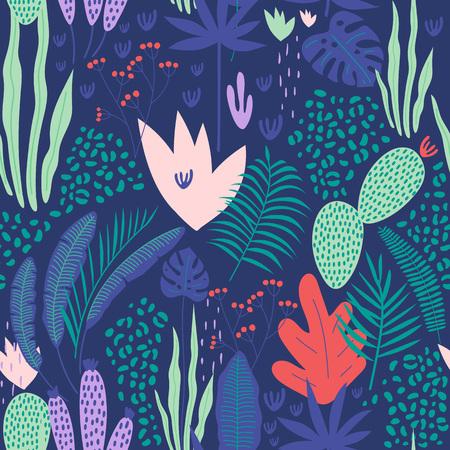 Modèle sans couture tropical avec des feuilles sur fond bleu. Illustration vectorielle