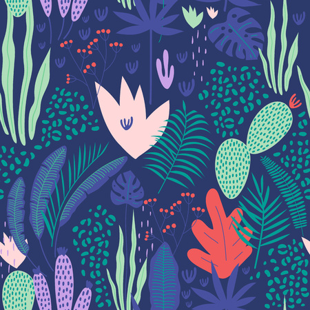 Tropical seamless pattern with leaves on blue background. Vector illustration