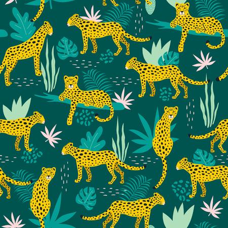 Nahtloses Muster mit Leoparden und tropischen Blättern. Vektor-Illustration