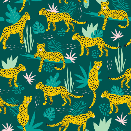 Seamless pattern with leopards and tropical leaves. Vector illustration