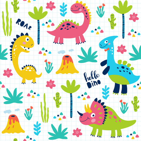 Seamless pattern with cute dinosaurs for children print. Vector illustration Stock Vector - 119675831