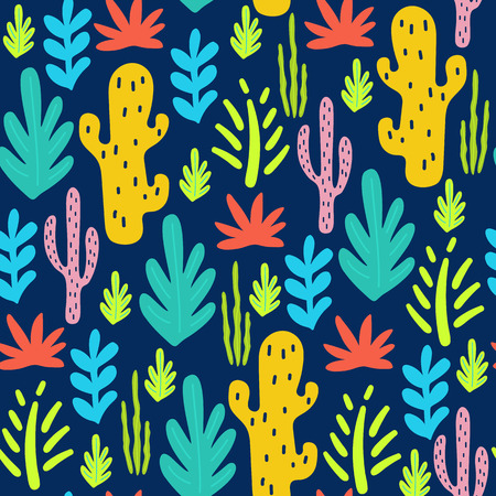 Tropical seamless pattern with leaves and cactuses. Vector illustration
