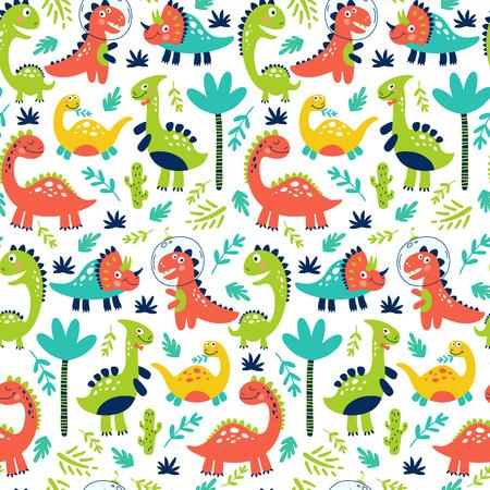 Modèle sans couture avec des dinosaures mignons pour les enfants imprimer. Illustration vectorielle Vecteurs