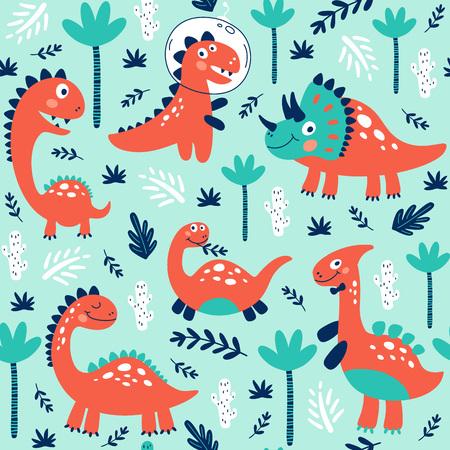 Impresión de patrones sin fisuras con lindos dinosaurios para niños. Ilustración vectorial
